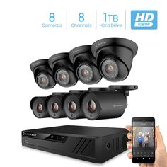 Amcrest ProHD 1080P 8CH Video Home Security Camera System with 8 x 2MP (1920TVL) IP67 Bullet & Dome Outdoor Surveillance Cameras, 98ft Night Vision,...