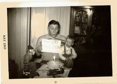 Vintage Antique Photograph Dad Holding Age Sign Mechanical Monkey Birthday Cake