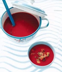 Australian Gourmet Traveller fast recipe for chilled tomato and red capsicum soup with salmon