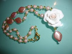 beautiful Necklace with wonderful rose made from porcelain , swarowsky and pearls from venice