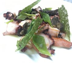 Octopus with potatoes cream , snow peas and morel mushroom