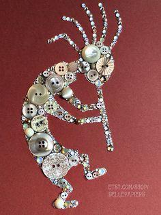 Bouton Art Kokopelli 11 x 14 bouton Art & Swarovski Crystal Art flûte joueur natif Amérique art pétroglyphe art 11 x 14