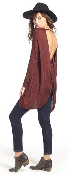 Such a cute and casual fall outfit! Free People Top & Paige Denim Jeans on the Nordstrom Anniversary Sale. Pair it with booties and a wide-brimmed Panama hat for a trendy fashion look.