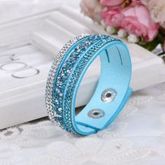 Fashion Lap Layer Wrap Bracelets Slake Leather Bracelet for women With Crystals Couple Jewelry
