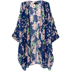 OURS Bohemia Women Ethnic Floral Print Chiffon Long Kimono Cardigan (€3,37) ❤ liked on Polyvore