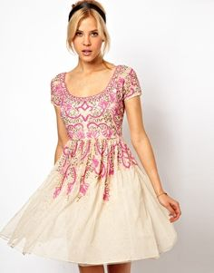 Enlarge ASOS Skater Dress With Pink Beading... Has an air of South Asian style in it
