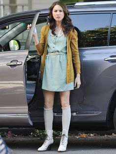 """Spencer Hastings loves a good pair of knee socks almost as much as she loves schooling boys in Game of Thrones knowledge. Even if it's something small, finding one signature staple is a great first step to developing your personal style! """"Spencer keeps her preppiness, but she does it with her own touches, like knee highs and boots,"""" Mandi said. MORE: 20 Super Fun Socks! - Seventeen.com"""