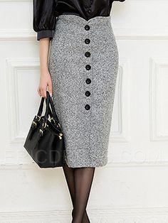 Saiqigui Autumn and Winter Women High Waist Knee L Long Skirts Online, Pencil Skirt Black, Pencil Skirts, Cheap Skirts, Womens Fashion Online, Work Attire, Vintage Skirt, A Line Skirts, Pleated Skirts