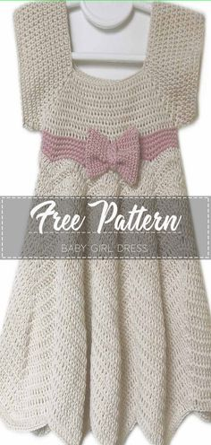 Baby Girl Dress - Free Pattern Go to the free pattern Here Crochet Baby Dress Free Pattern, Crochet Toddler Dress, Crochet Dress Girl, Baby Girl Dress Patterns, Crochet Girls, Toddler Girl Dresses, Baby Patterns, Crochet Clothes, Free Crochet