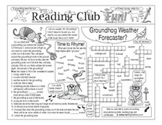Bundle: Groundhog Day and Weather Two-Page Activity Set and Crossword Puzzle from Reading Club Fun on TeachersNotebook.com