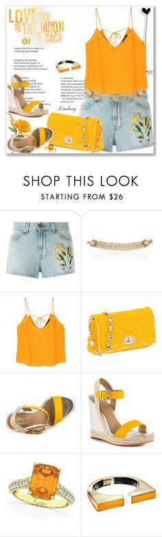 """""""Gucci Embroidered Denim Shorts"""" by lindsayd78 ❤ liked on Polyvore featuring Gucci, Maison Mayle, MANGO, Miu Miu, Nicole Miller, Allurez and Alexis Bittar"""