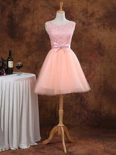 Ball Gown Scoop Neck Lace Tulle Elastic Woven Satin Short/Mini Bow Prom Dresses - dressesofgirl.com