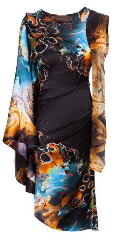 cbbd428be182 Intergalactic Unrath   Strano  Extravagantes Kleid in Braun, Türkis von  Unrath   Strano.