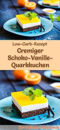 Rezept für Low Carb Schoko-Vanille-Quarkkuchen: Der kohlenhydratarme, kalorienreduzierte Kuchen wird ohne Zucker und Getreidemehl zubereitet ... #lowcarb #kuchen #backen