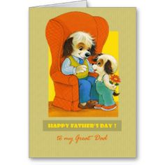 Father's Day Greeting Card for father with retro american postcard image . Matching products available in the Holidays / Father's Day / Vintage Postcard Category of our store. #happy #fathers #father's #day #father #dad #grandfather #grandpa #brother #husband #son #uncle #grandson #step #godfather #vintage #retro #greetings #gift #fun #funny #animal #animals #dog #dogs #puppy #kids #children #artofmairin #mairin #studio