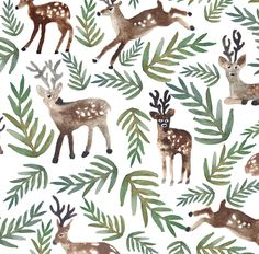 Woodland Watercolor Reindeer Fabric - Cotton fabric- Loved Dearly (Large) By Shelbyallison - Deer Cotton Fabric By The Yard With Spoonflower di Spoonflower su Etsy https://www.etsy.com/it/listing/475983898/woodland-watercolor-reindeer-fabric