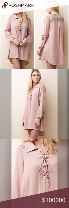Lace up back detail toggle sleeve tunic/dress! Lovely detail makes this effortless tunic/dress a stunning addition to your wardrobe- collared with lace up top- toggle sleeves and lace top back detail in a modest hi lo cut - classically beautiful  Dresses