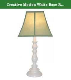 Creative Motion White Base Resin Table Lamp, Sage. The kid's lamp is perfect for any room attire with its white base and light blue shade. The base is made of Resin and shade is made of fabric.