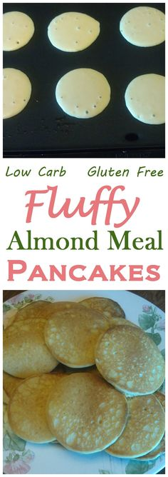 A nice fluffy gluten free pancake made from almond meal. These low carb almond meal pancakes are perfect served with butter and sugar free pancake syrup. Add some cinnamon and nutmeg Banting Recipes, Gluten Free Recipes, Low Carb Recipes, Healthy Recipes, Healthy Meals, Carb Free Meals, Radish Recipes, Wheat Free Recipes, Pescatarian Recipes