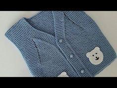 Bebek ve çocuklar için yapılan örgü yelek modellerinde değişik değişik motifler kullanılıyor. Ayı motifi kullanılarak yapılan bebek yeleği yapılışı bu yazıda. Baby Knitting Patterns, Knitting Designs, Free Knitting, Shawl, Sweaters, Clothes, Fashion, Templates, Vestidos