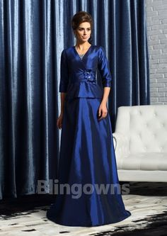 3/4 Sleeves A-line V-neck Blue Taffeta Flower Buttons Floor Length Mother Of The Bride Dresses