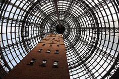 """rcruzniemiec: """"Coop's Shot Tower Coop's Shot Tower is located in the heart of the Melbourne CBD. It was completed in 1888 and is 50 metres high. The historic building was saved from demolition in Melbourne Central, Visit Melbourne, Melbourne Cbd, Glass Roof, World's Biggest, Coops, Where To Go, Louvre, Tower"""