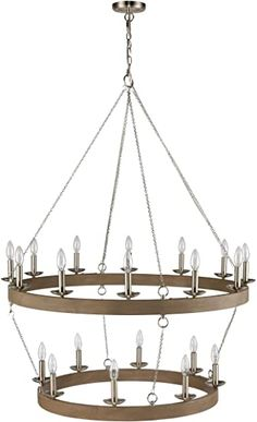 "WILDSOUL 201020FGWSN 38-1/4"" 20-Light Circular Round Chandelier Candle Style, Modern Farmhouse Décor 2-Tier Wagon Wheel Light, LED Compatible, Brushed Nickel and Wood Style Finish - - Amazon.com"