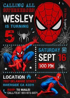 This item listing is for a Customized Birthday Invite in DIGITAL FILE only. Spiderman Theme Party, Spiderman Birthday Invitations, Superhero Birthday Party, 3rd Birthday Parties, Birthday Party Invitations, Birthday Party Decorations, Boy Birthday, Spiderman Birthday Ideas, Birthday Banners