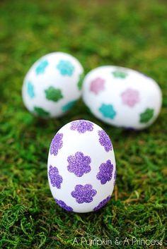 Flower Glitter Easter Eggs