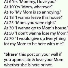 "At 45 I was already saying ""I would give up Everything for my Mom to be here with me"" :o("