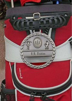 Cast metal golf bag tag personalized with name and initials at  www.golfthruthegreen.com