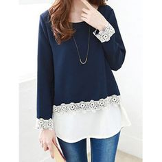 Wholesale Refreshing Stylish Scoop Neck Long Sleeve Spliced Laciness Women's Blouse Only $6.81 Drop Shipping | TrendsGal.com