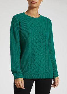 08b859664e32 Scalloped Neck Cable Knit Jumper – Green