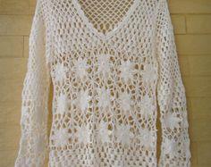 Transcendent Crochet a Solid Granny Square Ideas. Inconceivable Crochet a Solid Granny Square Ideas. Boho Crochet, Pull Crochet, Crochet Shirt, Unique Crochet, Crochet Wool, Crochet Cardigan, Crochet Granny, Sweater Cardigan, Crochet Flower
