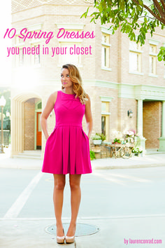 Spring Sundresses, Lauren looking like a doll in a girly, hot pink frock with bow detail!