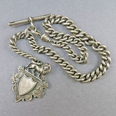 Antique Sterling Watch Chain English Silver Albert 1901 Hallmarked Silver Fob Pendant Steampunk Jewelry Antique Jewelry Antique Collectibles