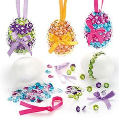 #Sequin easter polystyrene egg kit for children to #decorate #display (pack of 3), View more on the LINK: http://www.zeppy.io/product/gb/2/391023445952/