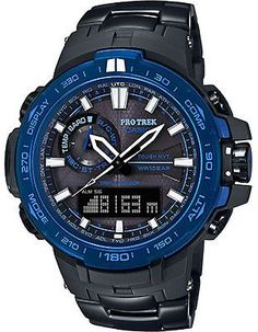 Casio Mens Solar Atomic Triple Sensor Pro Trek - Blue Bezel - Black Bracelet