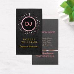#professional - #DJ Musician Professional Music Teacher Rose Gold Business Card