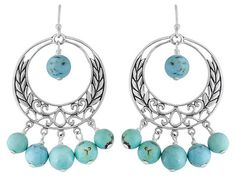 Southwest Style By Jtv (Tm) Round Beaded Turquoise Sterling Silver Dangle Earrings