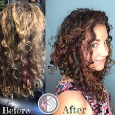 Nevada's Curly Hair and Color Expert Carleen Sanchez created this oil slick/ Funfetti color and naturally curly haircut. Visit www.haircutcolor.com to learn more about your natural curls/texture. Reno,NV
