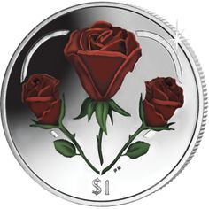 British Virgin Islands 2015 - A Heart of Roses - Coloured Uncirculated Cupro Nickel Coin