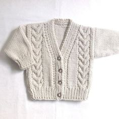 Infant Aran cardigan - 6 to 12 months - Baby Aran hand knit sweater - Baby Knitwear - Gift for baby - Handknit infant clothes - Free patterns Aran Baby Cardigan clothes Free gift HAND Handknit infant knit Knitwear months Patterns sweater Baby Boy Cardigan, Cardigan Bebe, Baby Blue Sweater, Knitted Baby Cardigan, Hand Knitted Sweaters, Cotton Sweater, Baby Knitting Patterns, Baby Sweater Patterns, Baby Boy Knitting