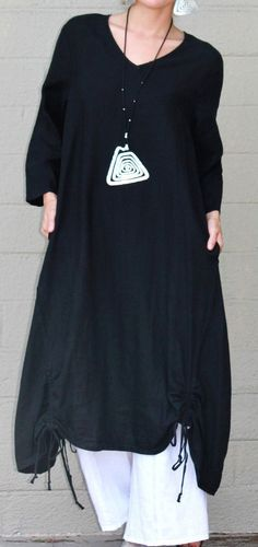 ET'LOIS USA Linen VENUS TUNIC Long Drawstring Detail Dress S M L XL BLACK…
