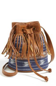 Festival Fashion! Fringed fabric bucket bag.