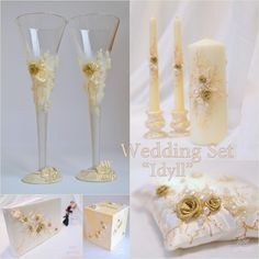 ON SALE Ivory and Gold Wedding Set Wedding glasses Wedding Champagne Toasting Flutes Unity Candles Guest Book Ring Pillow Card Money Holder by ArtWeddingGroup on Etsy