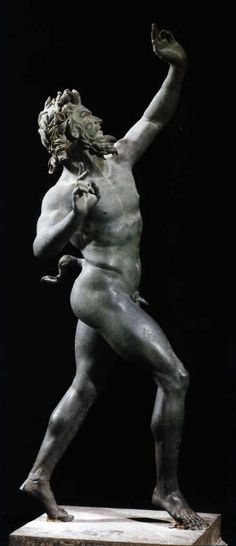 Bronze statue, Dancing Faun, 2nd century BCE. Found in Pompeii. National Archaeological Museum, Naples.