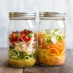 Curried Cup O' Zoodles - Two Ways - these zoodles in a jar are perfect for taking to lunch. Just add boiled water, and you'll have a tasty low-carb noodle soup ready on the go! by @healthynibs