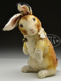 """STEIFF LARGE """"HASE"""" RABBIT WITH UNUSUAL AND INTERESTING STEIFF IDs. $355"""
