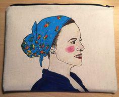 Clutch Girl with turban by Susie Creativa Textiles, I Love Fashion, Turban, Illustration, Moose Art, Graphic Design, Artwork, Handmade, Animals